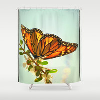 Monarch Flower Shower Curtain by RichCaspian