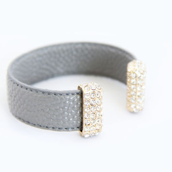 Grey Pebbled Leather Cuff