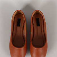 Lucy-101 Leatherette Round Toe Ballet Flat