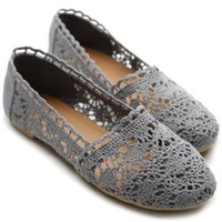 Ollio Womens Lace Ballet Flats Loafers Floral Slip-on Low Heels Shoes