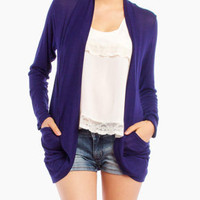 Light Pull Over Pocket Cardigan in Navy