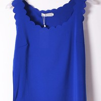 Scallop Sleeveless Semi-sheer Chiffon Top - OASAP.com
