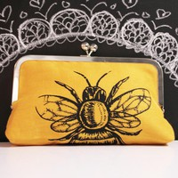Mustard Yellow Linen Bee Clutch Purse by evakatharina on Etsy
