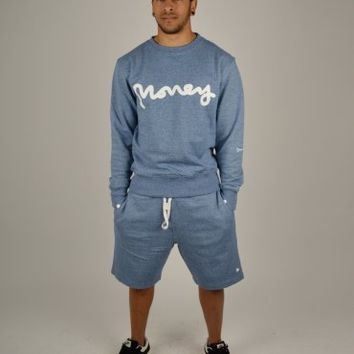 Money Clothing Melange Sweat Shorts - Marl Blue