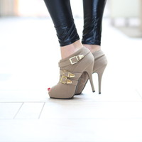 Boardwalk Heels Taupe - Modern Vintage Boutique