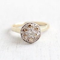 Antique 10k White & Yellow Gold Art Deco Old European Diamond Cluster Ring- Size 7 Vintage Raised Filigree 1920s Engagement Fine Jewelry
