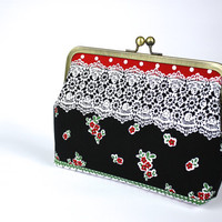 Lace print Clutch - Clutch Purse - Evening Bag - Frame Clutch