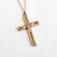 Antique 12k Yellow Gold Filled Floral Cross Necklace- Vintage Art Deco Religious Crucifix Pendant with Flower Etchings