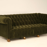Reproduction French Mid Century Tufted Back Sofa with Gold Plated Feet