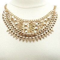 Layered Pyramid Stud & Spike Bib Necklace