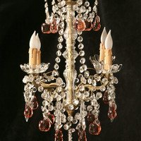 Petite Dusty Rose Fruit and Crystal Four Light Chandelier Made In France