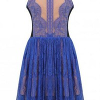 Blue Lace Sleeveless Skater Dress