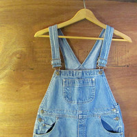 vintage 90s Bib Overalls jean shorts. Women's dungarees. size XS - S