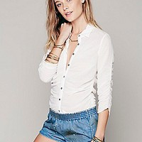 Free People Womens Rouched Tuck in Blouse -