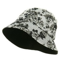 Ladies Floral Bucket Hat - Black W12S49E