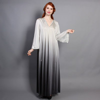60s OMBRE Nylon NIGHTGOWN / Shiny Silver to Gunmetal Bell Sleeve Gown, osfm
