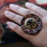 Eye on Brass Painted Coconut Shell Ring by SanazKhosravi on Etsy