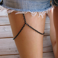 BLACK leg chain thigh chain summer jewelry by houseofmarissanicole