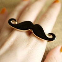 Mustache ringantiqued brassSALE by qizhouhuang on Etsy