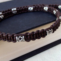 Tribal Men's Necklace: Chocolate Brown Leather Cord Antiqued Silver Unisex Bohemian Jewelry, Macrame Choker Necklace
