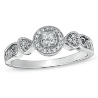 1/10 CT. T.W. Princess-Cut Quad Diamond Heart Scroll Promise Ring in 10K White Gold - Size 7 - View All Rings - Zales