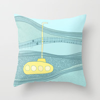 Yellow Submarine Throw Pillow by Anita Ivancenko