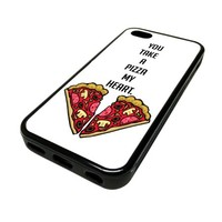 For Apple iPhone 5C 5 C Case Cover Skin Pizza My Heart Cute Funny DESIGN BLACK RUBBER SILICONE Teen Gift Vintage Hipster Fashion Design Art Print Cell Phone Accessories