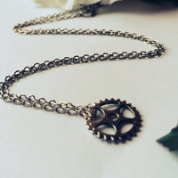 Silver Mini Gear Charm necklace antique silver