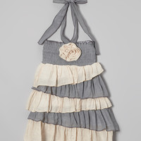 Gray & Ivory Tiered Halter Dress - Toddler & Girls | Daily deals for moms, babies and kids