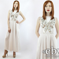Vintage 70s White Sequin Butterfly Maxi Dress XS S Hippie Wedding Dress Hippy Wedding Dress Boho Wedding Dress White Dress Hippie Dress