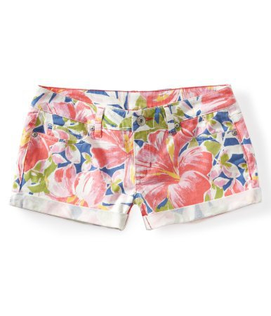 Floral Denim Shorty Shorts - Aeropostale