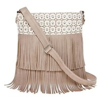 Olsenboye® Fringed Crochet Crossbody Bag