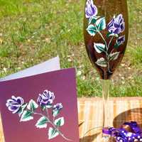 Purple Roses Painted Wine Glass and Card Gift Set