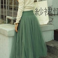 Retro Simple Style Silk Long Dress Deep Green