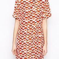 Peter Jensen Smock Dress in Lips Print