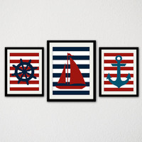 "Nautical Nursery Print Set. Boat. Anchor. Ships Wheel. Stripes. Blue and Red. Baby Boy. Kids Bathroom. Kids Bedroom. 8.5x11"" Prints"