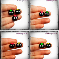 Susuwataru soot sprites earrings chibi in polymer clay inspired in Studio Ghibli movie. You can choose surgical steel