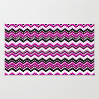 Colorful Pink Magenta Chevron Zig Zag Pattern Area & Throw Rug by Megan Aroon Duncanson ~ MADART