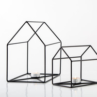 Two Candle holders Houses simple clean wire construction to house candles. Scandi style.