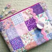CLEARANCE - Pink 'n Lavendar Zippy - Flat Bottom Lined Zipper Bag Pouch Small Purse - For Makeup, Cosmetics