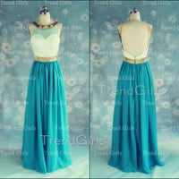 Custom Made A-line Chiffon Backless Long Prom Dresses, Prom Dresses 2014, Gree Prom Dresses, Dress For Prom 2014