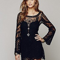 Free People Womens Commemorative Bell Sleeve Dress