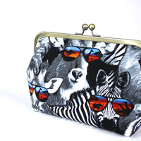 Safari print Clutch - Clutch Purse - Evening Bag - Frame Clutch