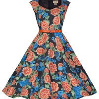 Lindy Bop 'Yulia' Vintage 1950's Classy Miami Floral Swing Dress