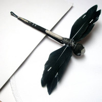 Feather bobby pin-Dragonfly Black and White pins- Nature inspired Free gift