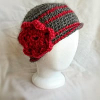 Crochet Pill Box Hat wool hat with red flower hobo hat Red and Grey Cloche