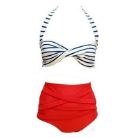 RETRO Pinup Rockabilly Vintage High Waist Bikini Swimsuit Swimwear-S/M/L