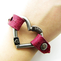 peach leather heartshape bracelet with screw by braceletcool