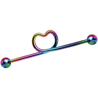 14 Gauge 38mm Hollow Heart Rainbow Titanium Industrial Barbell | Body Candy Body Jewelry