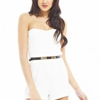 Cream Strapless Playsuit